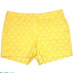 Ann Taylor gold yellow polka dot shorts Size 10